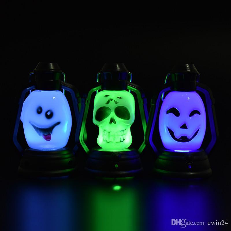 Красочные Флэш-череп тыква призрак форма висит небольшой свет ночи праздник фонарь светодиодные 0Lamp для Хэллоуин оптовая цена