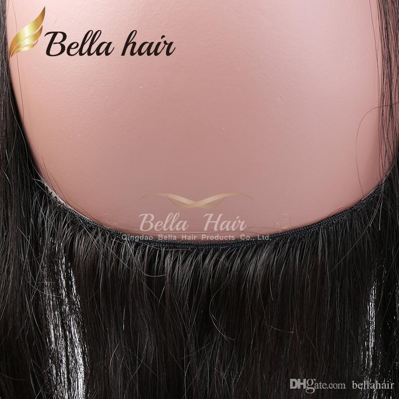3 части 360 кружева фронтальная полоса 100% девственница человеческих волос плетение кружева фронтальные прямые перуанские наращивания волос натуральный цвет 10