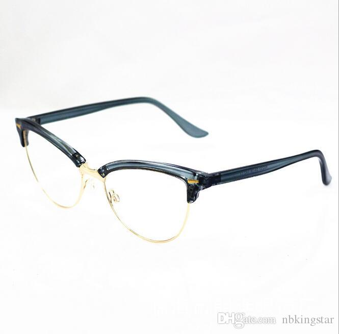55f687334 Women's Elegant Half Frame Cat Eye Eyewear Frames Metal Optical Glasses  Frame Brand Designer Computer Eyeglasses Frames 6pcs/Lot