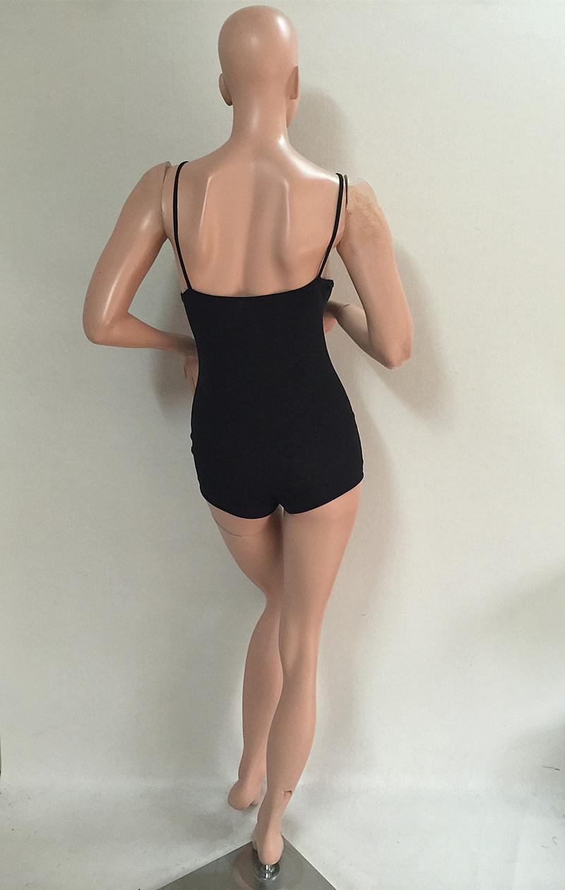 여성 여름 바디 수트 장난 꾸러기 여자의 옷을 빌려 섹시한 등이없는 검은 색 반바지 Bodycon 점프 슈트 의류 combinaison의 팜므 캐주얼 플러스 크기 S-3XL