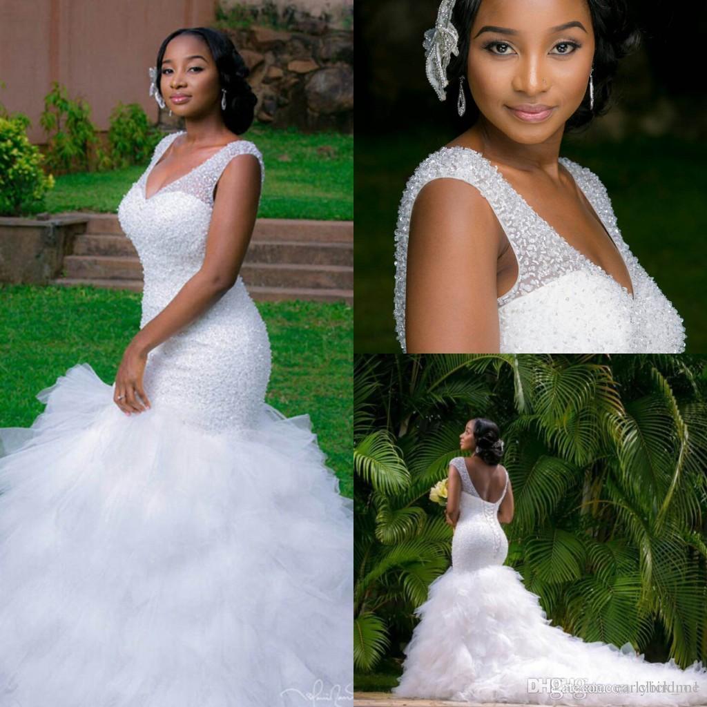 2016 Arabic Style Plus Size Wedding Dresses Deep V Neck Beading Layers Mermaid  Wedding Gowns Chapel Train Lace Up Back Beach Bridal Dress Tulle Mermaid ... 8ed92c555f51