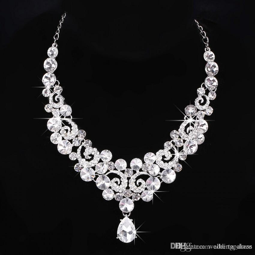 Fashion Newest Three-piece Bridal Accessories Tiaras Hair Necklace Earrings Accessories Bridal Wedding Jewelry Sets