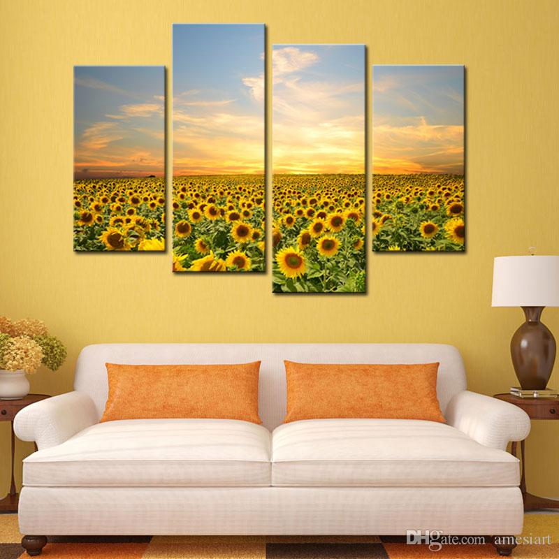 Wall Art Painting Sunflowers Picture Canvas Prints Artwork Landscape ...