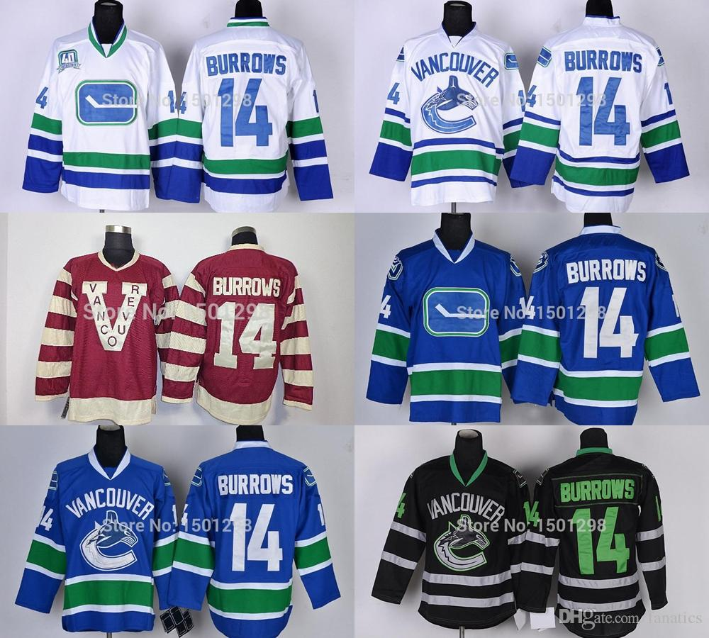 2018 2016 mens 14 alexandre burrows ice hockey jerseys vancouver canucks jersey home blue 40th white