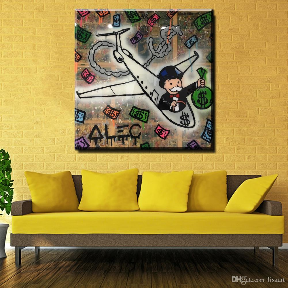 2018 Zz205 Money Fly Alec Monopoly Graffiti Canvas For Wall Art ...