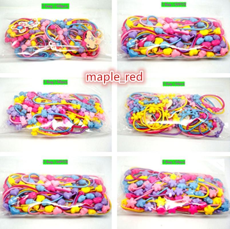 여자 탄력있는 머리 타이 팔찌 머리띠 밴드 로프 포니 테일 홀더 50ppcs / 가방 고품질 AU