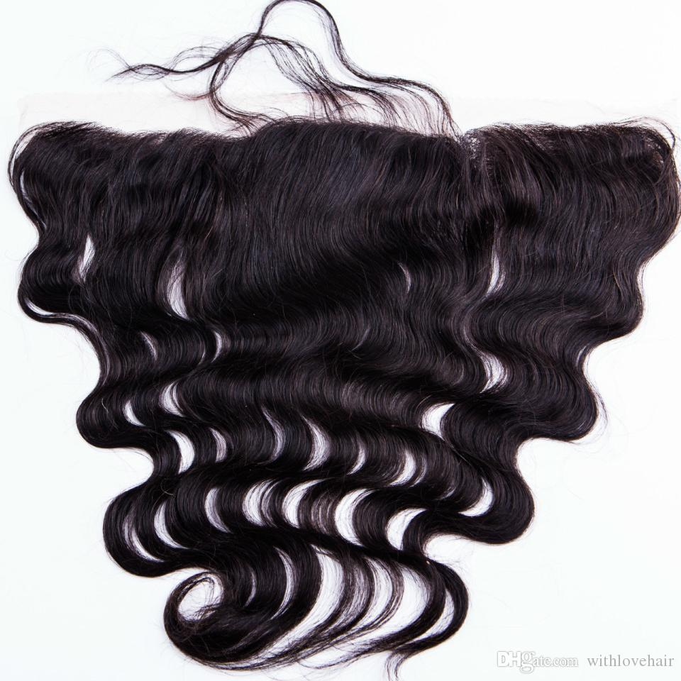 Fermeture frontale pleine dentelle 13x2 vague de corps mongole Double trame teinte couleur fermetures dentelle moyenne cheveux brun 8a fermeture