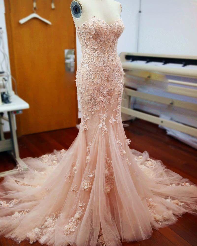 Real Image 3D Flore Appliques Wedding Dresses Mermaid Backless Vintage Long Train Blush Bridal Gowns Sweetheart Bride Dress Cheap