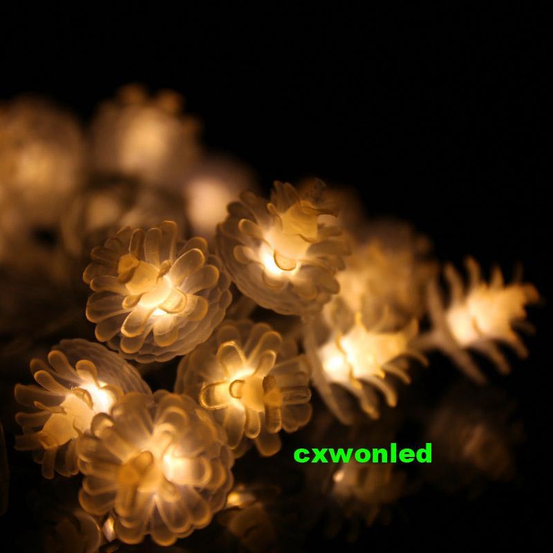 أدى ضوء سلسلة على شكل الأزهار الصنوبر المخروط 2M 20 أضواء بقيادة أضواء عطلة بيضاء دافئة 3W بطارية تعمل بالطاقة سلاسل ضوء الديكور مصباح الزفاف
