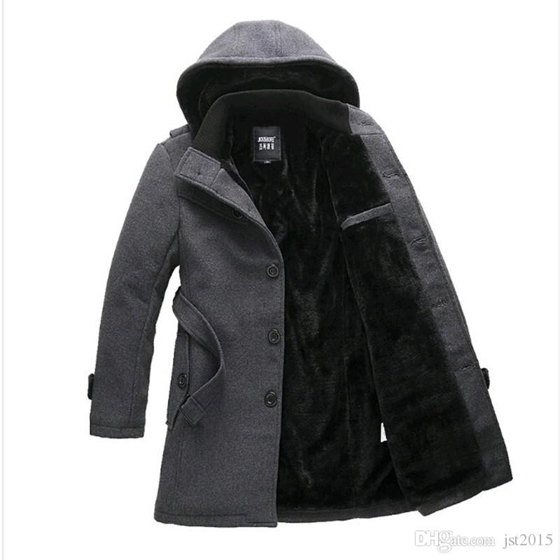 7735d2e4d91 2019 Men'S Winter Coat Slim Brand Jackets Men Medium Long Velvet Overcoat