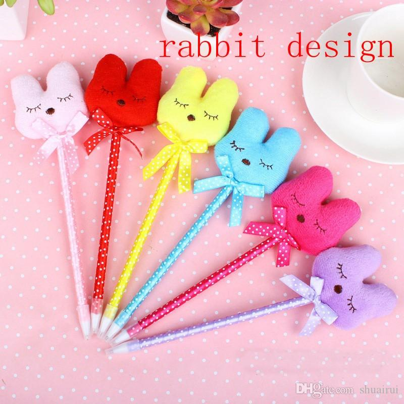 Candy colour plush cute rabbit header ball pens for student kids kawaii pen children stationery school party gift prize