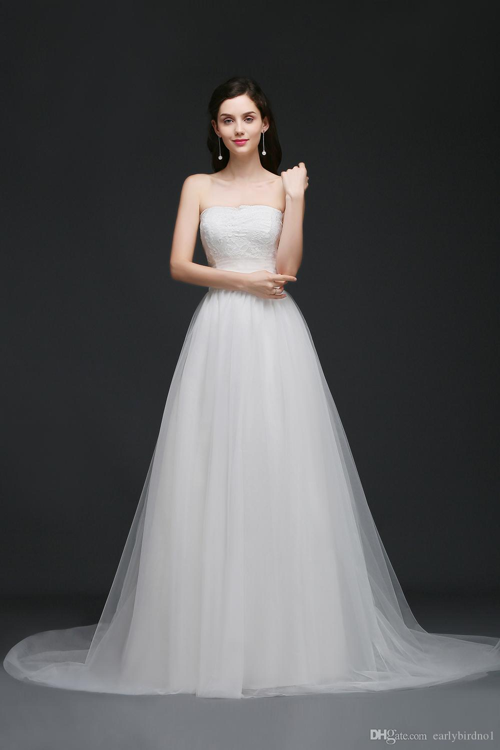 New Elegant Simple Strapless Garden Wedding Dresses Lace Top Soft Tulle Beach Wedding Gowns Summer Cheap Wedding Gowns Robe CPS762