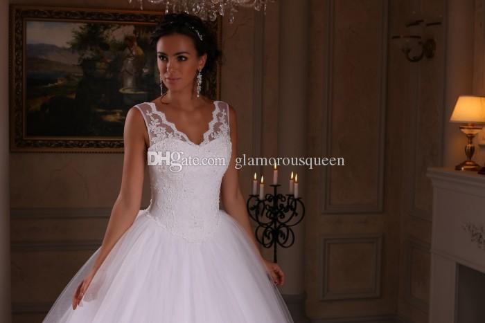 Beliebteste eine Linie V-Ausschnitt bodenlangen weißen Tüll Brautkleider schnüren sich nach Maß Brautkleider mit Ärmellos