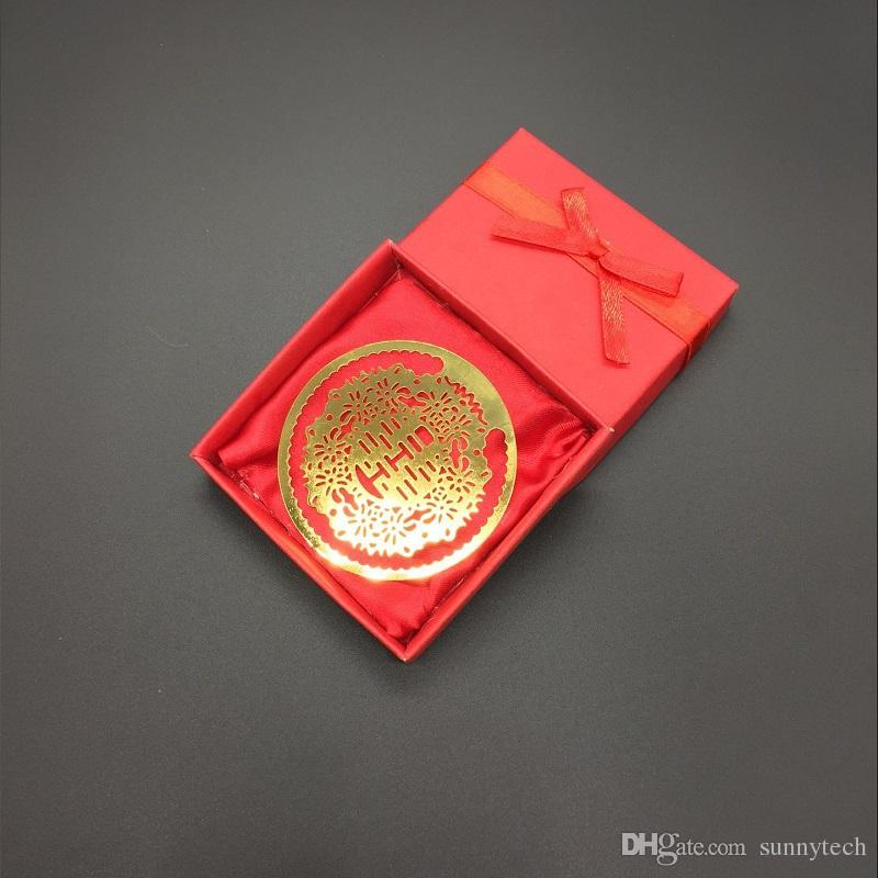 Double Happiness Gold Bookmarks Metal With Gift Box Chinese Souvenirs Stationery Pendant Gifts Party Wedding Favors ZA1341
