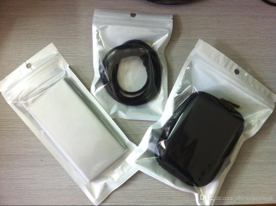 En gros / clair + blanc en plastique Zipper Détail paquet sac Pour Data câble de voiture chargeur de téléphone portable accessoires sac d'emballage