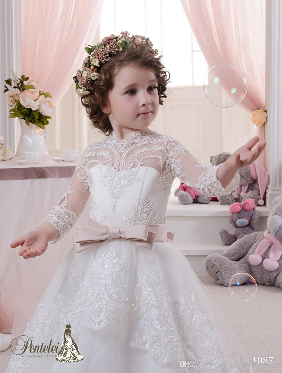 2016 Miniature Bride Dresses with High Neck and Long Sleeves Lace Appliques Tulle Ball Gown Cute Flower Girls Gowns with Train