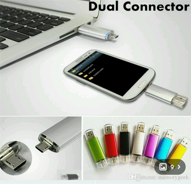 64 GB 128 GB 256 GB OTG harici depolama USB 2.0 Flash Sürücü Bellek Android ISO Akıllı Telefonlar Tabletler için PenDrives U Disk Thumbdrives