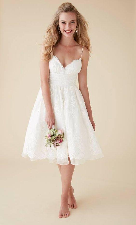 Discount Spaghetti Short Lace Spanish Wedding Dresses Beach Knee ...