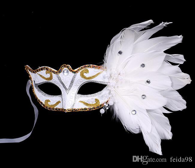 Merry Christmas Halloween feathers painted feather masks birthday party mask