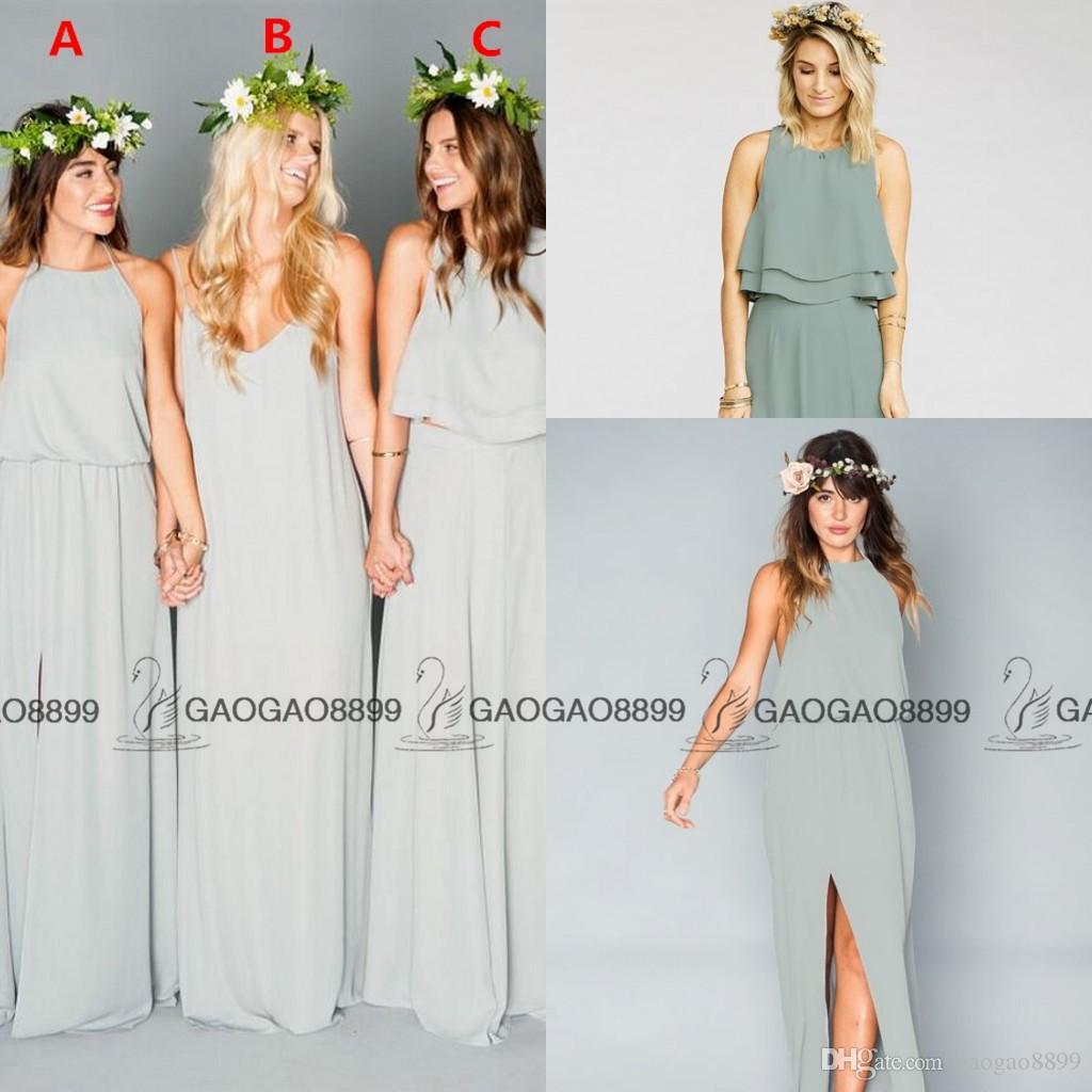 52b236a1ff Compre 2016 Sage Gasa Vestidos Largos De Dama De Honor Volantes Mumu  Bohemio Piso De Longitud Verano Boda De La Boda Vestidos De Noche Vestido  De Dama De ...