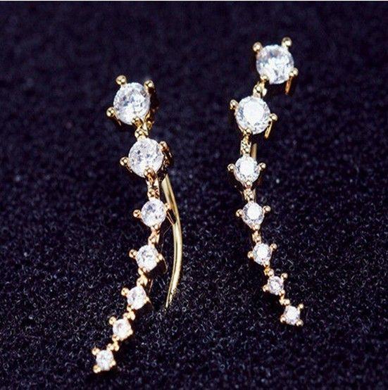 CZ Diamant Clip Manschette Ohrringe Weiß / Rose Gold Plated Dipper Haken Ohrstecker Schmuck für Frauen Ohrring ZL