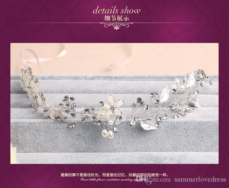 Hochzeit Bridal Pearl Stirnband Ribbon Haarschmuck Band Kopfschmuck Crown Tiara Princess Queen Kristall Strass Party Kopfschmuck Schmuck