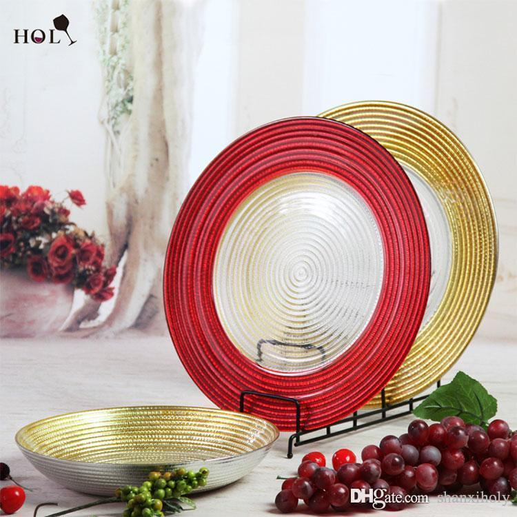 2018 Wholesale Decorative Glass Charger Plate With Red Rim Manufacturer From Shanxiholy $4.35 | Dhgate.Com & 2018 Wholesale Decorative Glass Charger Plate With Red Rim ...