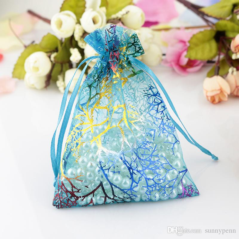 Wholesale 9.5cmx13.5cm Blue Flower Coralline Organza Sheer Voile Jewelry Candy Tea Coffee Gift Packaging Bags Pouches
