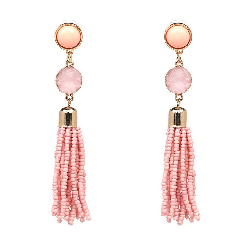 National Stone Beads Tassel Earrings Bohemian Long Earrings Drop ...