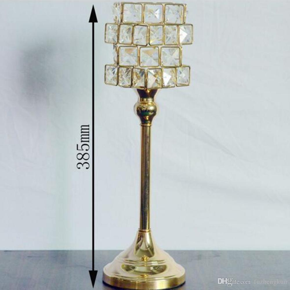 Nuovo particolare portacandele in metallo dorato finitura oro con cristalli centrotavola candelabri centrotavola decorazione candelabri
