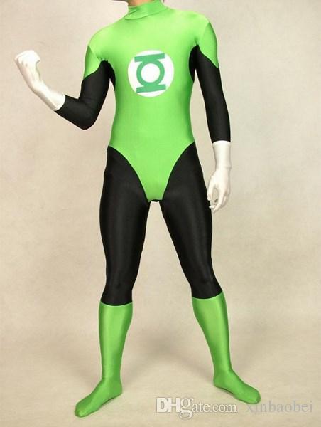 Green Mens Green Lantern hero costume tights Lycra Zentai leotard dress stage performance clothing Halloween Costumes