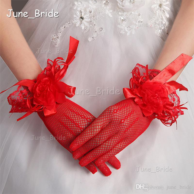 Romantic Lace Wrist Length Lace Bridal Gloves Short Illusion Full Finger Handmade Flower Wedding Party Gloves Red White Color New Style