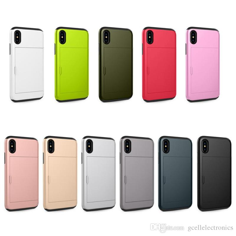 Slide Card Holder Phone Cases For Samsung Galaxy S21 S20 FE Note 20 Ultra Iphone 12 Pro Max Case With Slim Armor Design