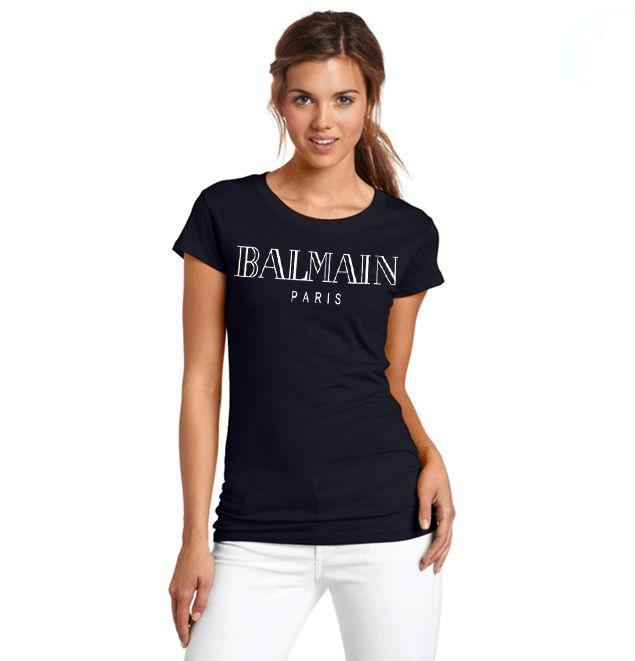 women short sleeve cotton balmain t shirts balmain female tops tees brand t shirt homme paris. Black Bedroom Furniture Sets. Home Design Ideas