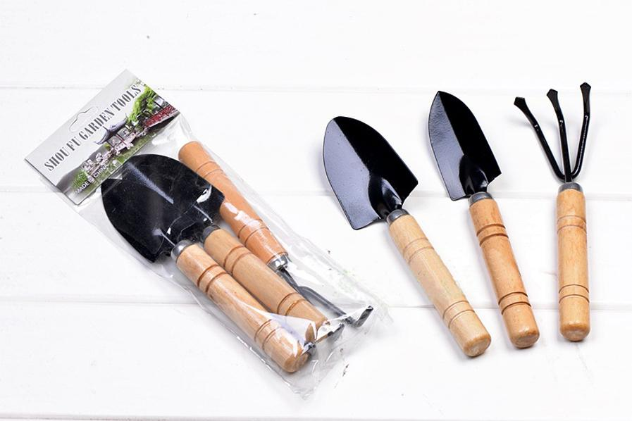 Mini Sharp Shovel Rake Wooden Handle Iron Head Plant Tool Set Reinforced Gardening Round Mini Garden Tools