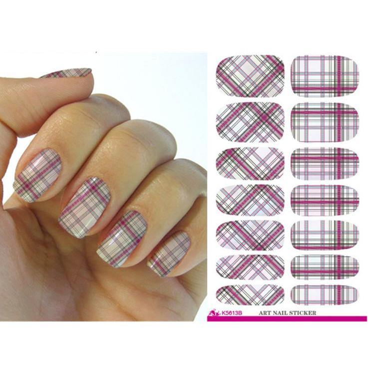 Hot Water Transfer Decal Nail Art Stickers Plaid Design Stylish