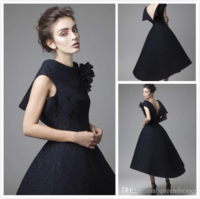 Sexy Black Short Evening Dresses Lace Backless A Line Cap Sleeve Evening Gowns Formal Women Special Occasion Dresses Elegant Abendkleider