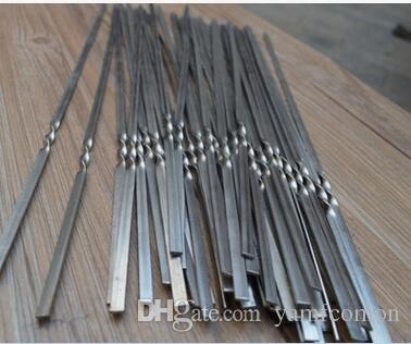 различный размер нержавеющей стали плоский барбекю палку барбекю шашлык шампуры обжига иглы с противоскользящим дизайн для Barware бар барбекю инструменты