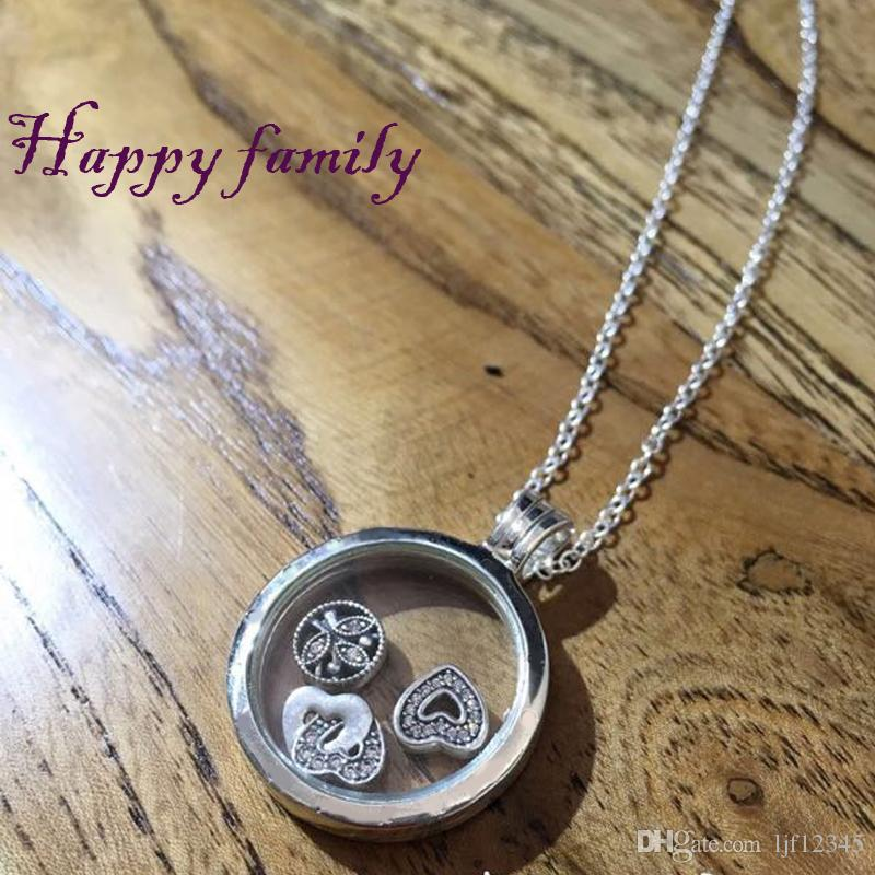 Floating Locket Large Sapphire Crystal Glass sterling-Silver-jewelry Woman New Charm Wholesale Jewelry Necklace Summer New Chain Jewelry