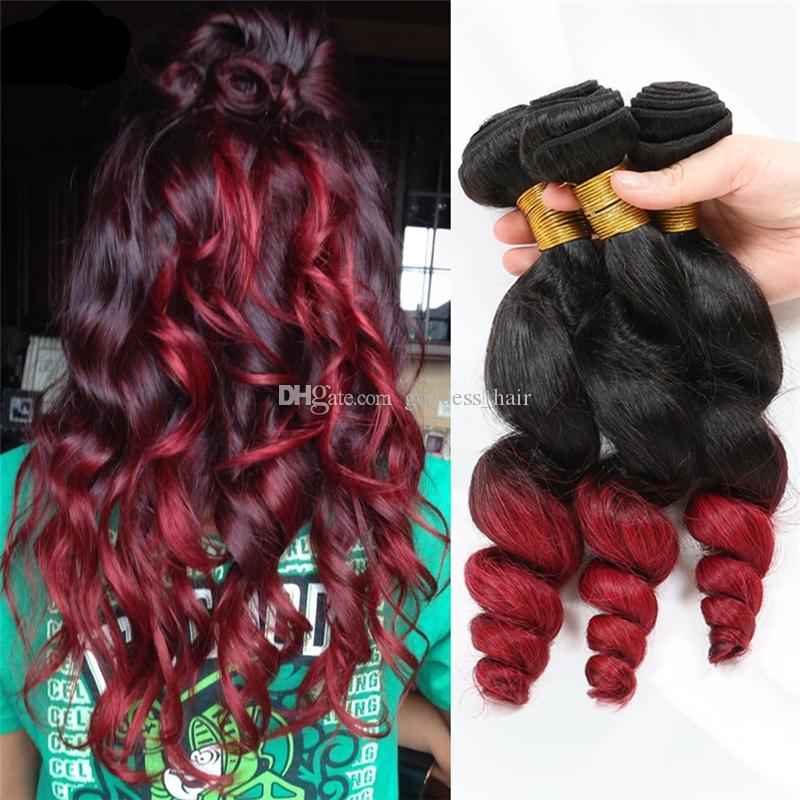 Hot Sale Loose Wave Ombre 2 Tone Hair Bundles #1B Red Ombre Hair Extension Double Wefted Hair Bundles For Black Woman