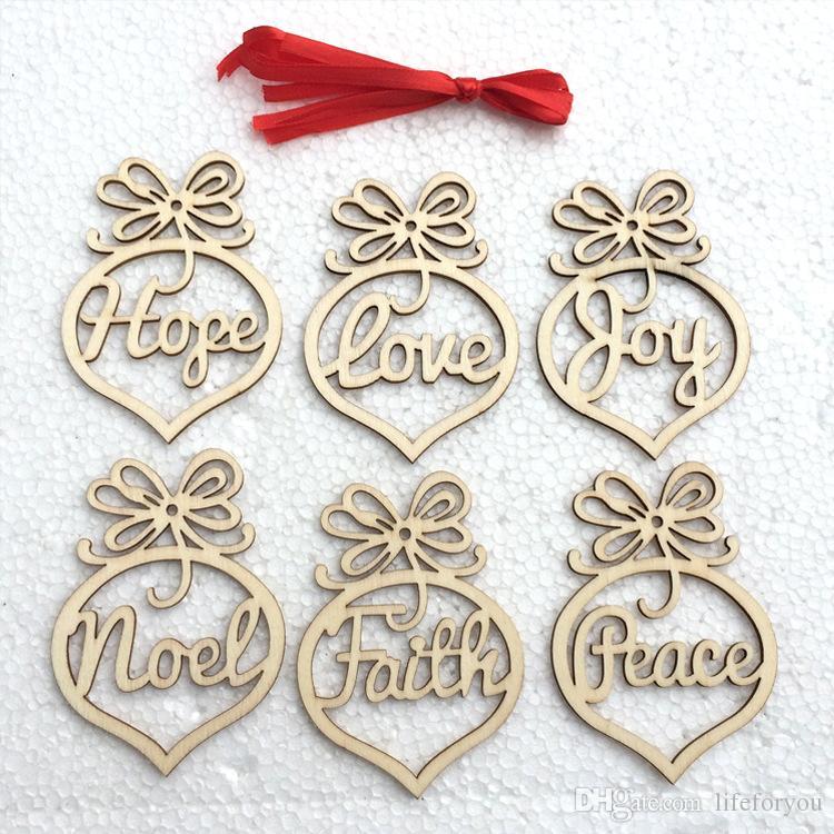 Carta navideña de madera Corazón Burbuja patrón Adorno Decoraciones para árboles de Navidad Festival en casa Adornos Colgante Regalo, por bolsa