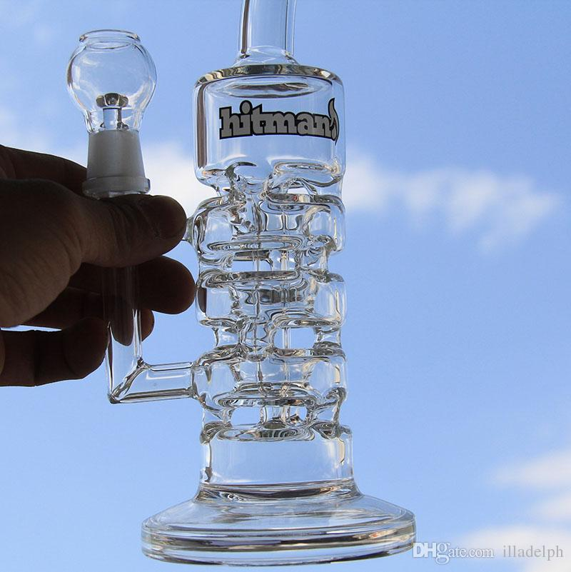 NEW Glass Water Bong Oil Rigs With Glass Bowl Hottest Two Functions Hookahs glass pipe