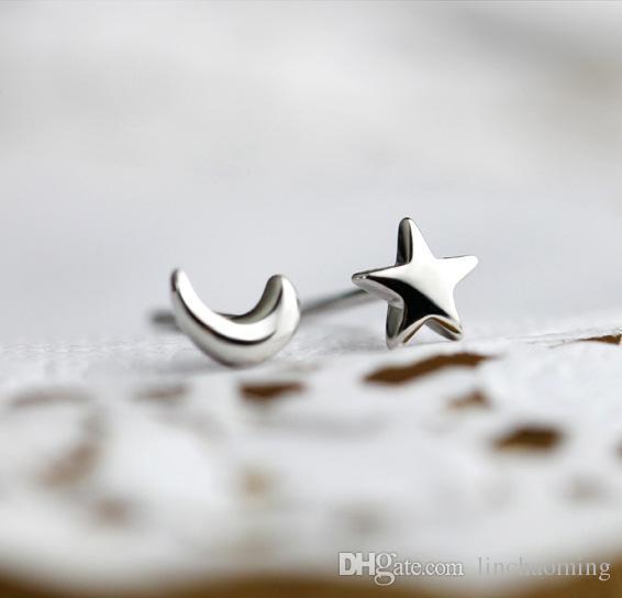 HYW 2016 Nuovi gioielli di moda Luna e stelle Orecchini Moonlight Express Design Orecchini placcati argento Orecchini all'ingrosso nichel free