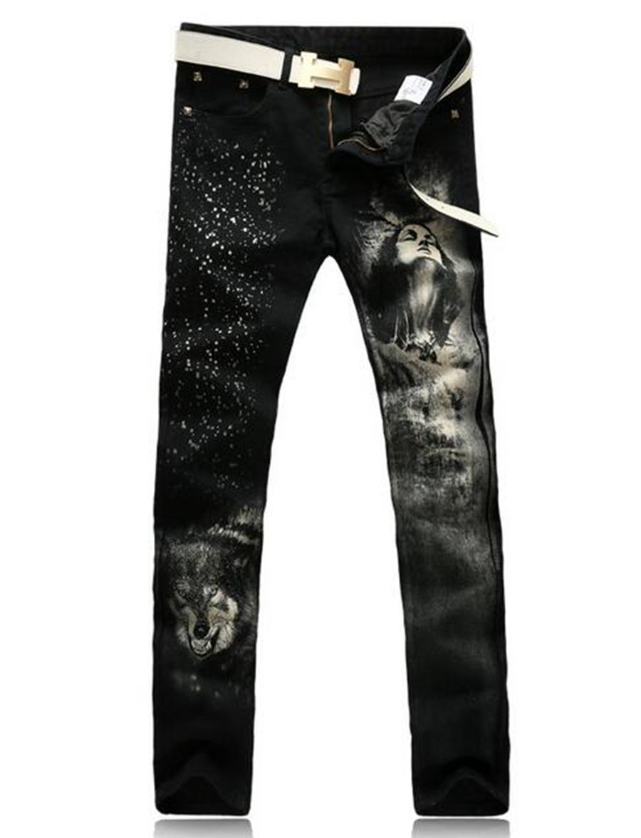Men's brand fashion trend in the new han edition cultivate one's morality personality through printed cotton denim trousers 6789 / 28-36