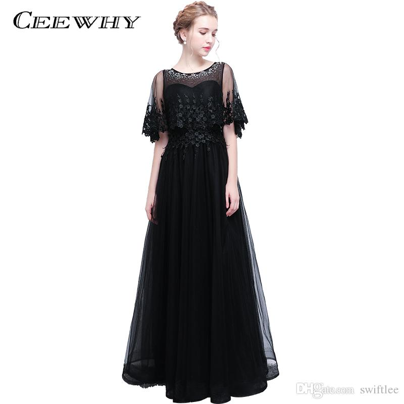 Ceewhy Tassel Black Evening Dress With Jacket Wrap A Line Long Tulle ...