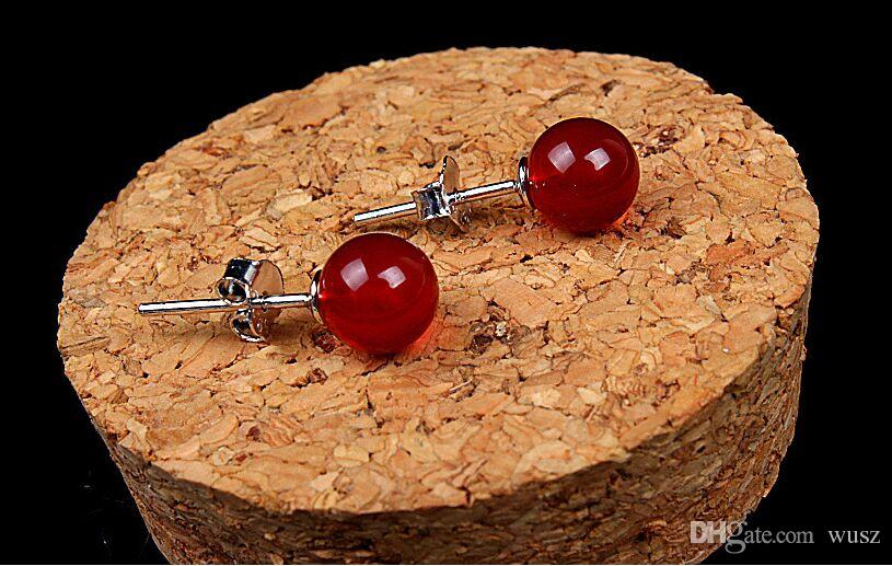 New fashion 925 sterling silver fine Jewelry Natural Onyx stone stud earring Ruby red and black agate Earrings for women fashion jewelry