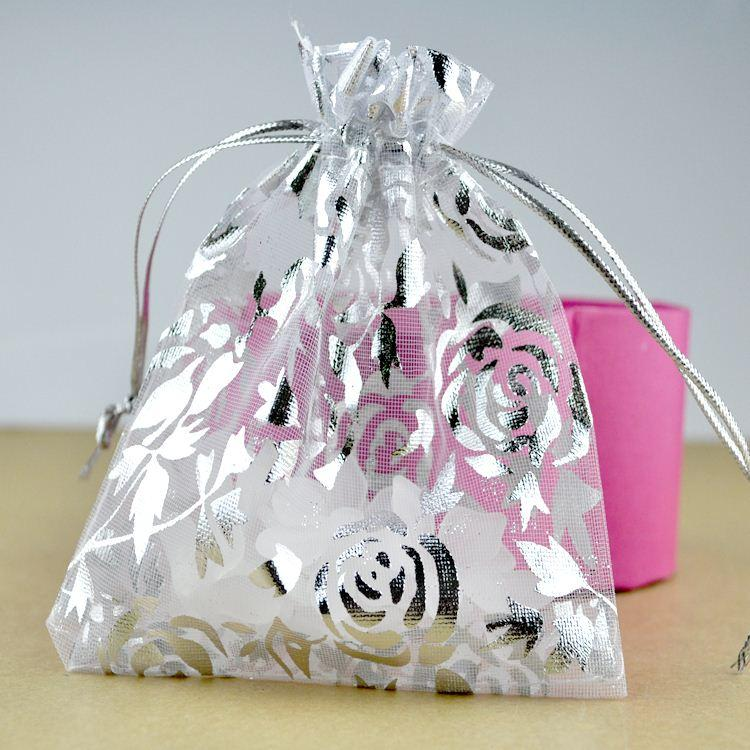 White Organza Bag 9x12cm Small Wedding Jewelry Package Bag Silver
