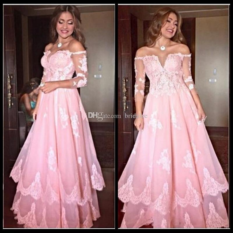 새로운 도착 섹시한 V 넥 댄스 파티 드레스 2016 핑크 3/4 긴 소매 레이스 아플리케 얇은 명주 그물 길이 의상 이브닝 드레스