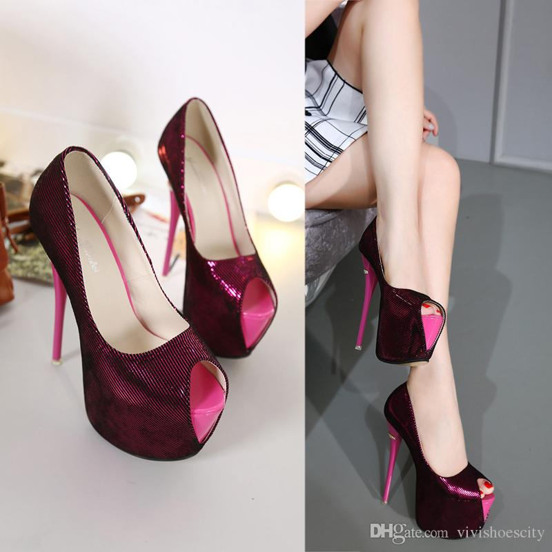 7a20dcb5523337 16cm Sexy High Heel Platform Shoes Peep Toe Pumps Wine Red Prom Gown Dress  Purple Blue Wine Red Black Size 34 To 40 Red Shoes Mens Slippers From ...