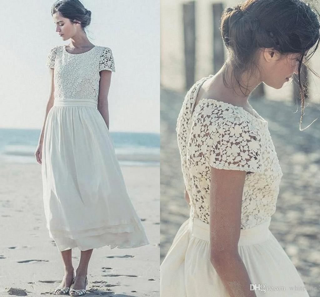 Discount Laure De Sagazan Short Beach Bohemia 2019 Bride Wedding Dresses  Lace Chiffon Cap Sleeves Tea Length Bridal Gowns Robe De Mariee Wedding  Dresses ... 5ace821c420d